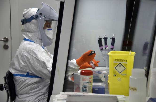 Un biologiste travaille à l'Institut universitaire du cancer de l'Inserm à Toulouse, le 10 octobre 2014.