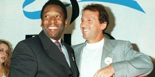 Pelé et Zico ensemble en  1996.
