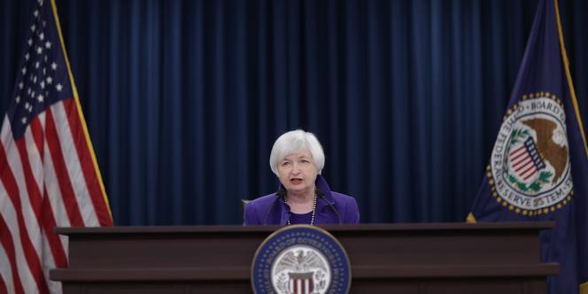 Janet Yellen, présidente de la Réserve fédérale américaine,  mercredi 16 décembre, à Washington.
