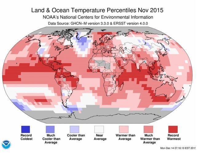 Carte des températures de novembre 2015, indexées par rapport aux plus chaudes et aux plus froides relevées depuis 1880.