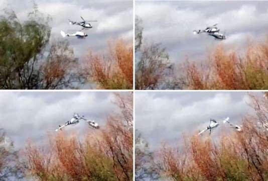 """Les deux hélicoptères entrant en collision lors du tournage de l'émission de TF1 """"Dropped"""", en mars, en Argentine."""