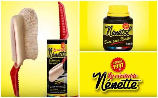 La « Véritable Nénette, 100 % française et artisanale » et  son « produit lustrant », le Nénétol.