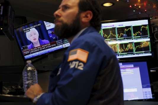 A la Bourse de New York, mercredi 16 décembre.