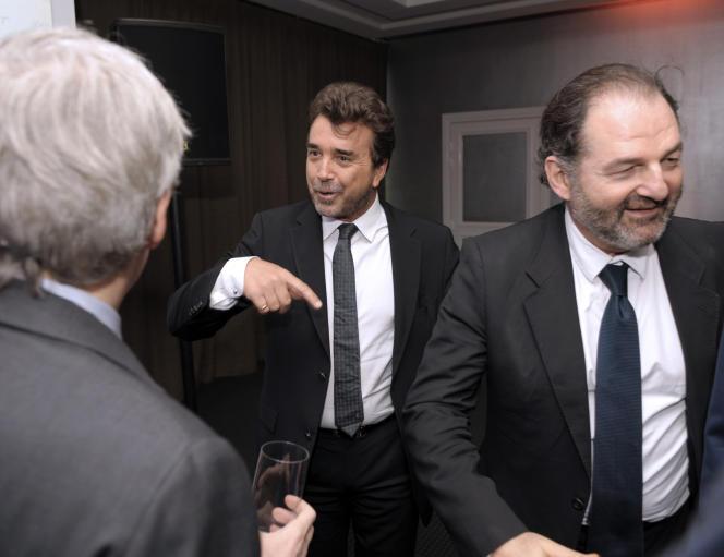 Arnaud Lagardère et Denis Olivennes, président-directeur général de Lagardère Active, la branche médias du groupe.