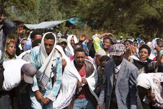 Funérailles de Dinka Chala, tué par les forces de l'ordre éthiopiennes dans le village de Yubdo, à quelque 100 km d'Addis Abeba, région d'Oromia, le 17 décembre.