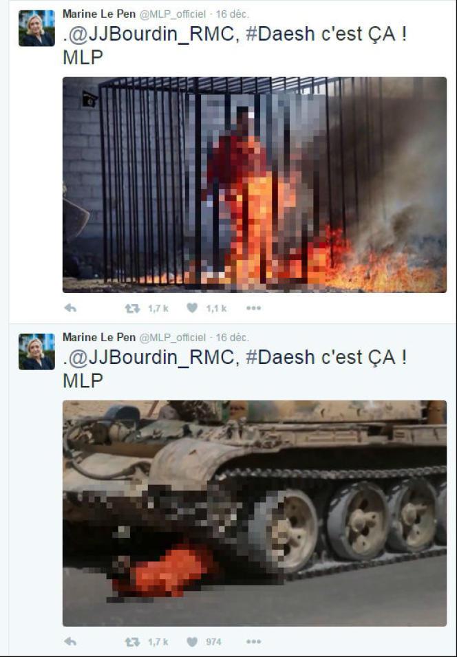 Images diffusées par Marine Le Pen
