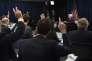 Conférence  de presse de  Janet Yellen,  la présidente  de la Fed,  à Washington, mercredi 16décembre.