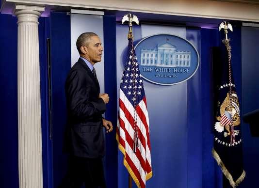 Barack Obama, lors d'une conférence de presse à la Maison Blanche, à Washington, le 18décembre.