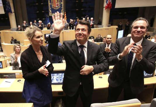 De gauche à droite : Chantal Eymeoud, vice-présidente de la région PACA, Christian Estrosi et Renaud Muselier.