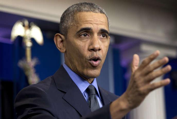 Le président Barack Obama lors d'une conférence de presse le 18 décembre 2015.