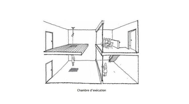 Schéma d'une chambre d'exécution type au Japon.