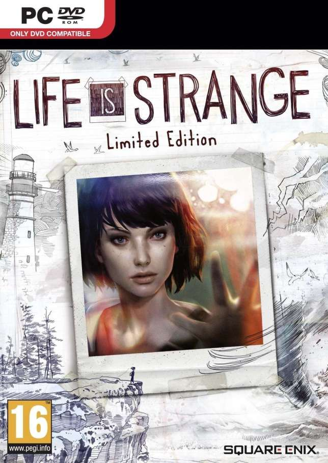 Life is Strange, ici sur PC (jaquette de la version boîte, prévue pour le 22 janvier : le jeu n'est actuellement disponible qu'en dématérialisé).