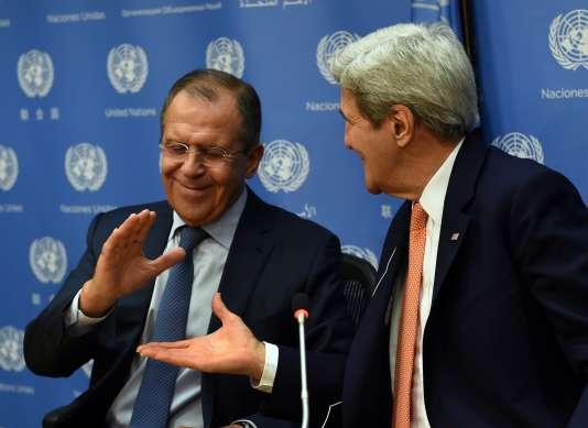Le ministre des affaires étrangères Sergueï Lavrov et le secrétaire d'Etat John Kerry après une réunion du Conseil de sécurité de l'ONU sur la Syrie.