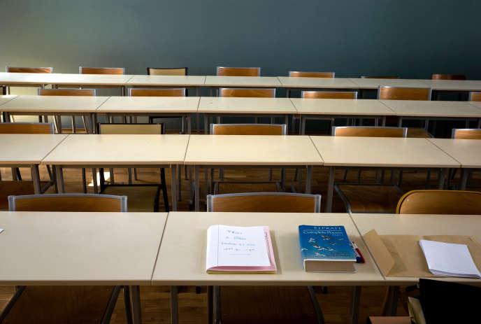 Une salle d'examens vide à l'Université Lyon 2 en 2009.
