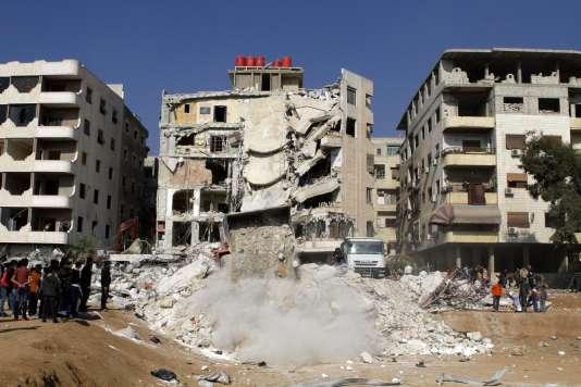 Le bâtiment visé par le raid attribué à Israël qui a tué le Libanais Samir Kantar, figure du Hezbollah, le 20 décembre.