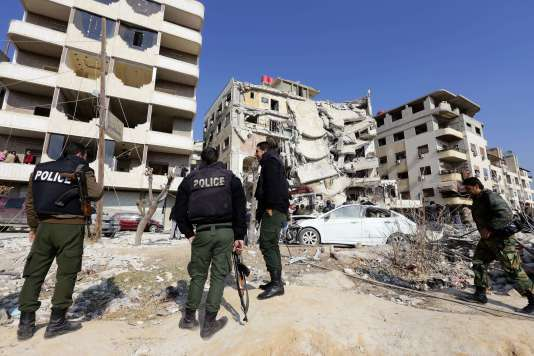 Zone où un raid aérien israélien a tué la figure du Hezbollah libanais Samir Kuntar à Damas, le 20 décembre.