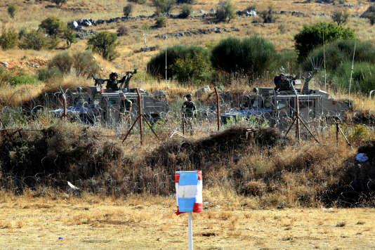 """Les fermes de Chebaa, au croisement de la Syrie, du Liban et d'Israël, concentre les tensions. Ici, la """"ligne bleue"""", tracée par l'ONU."""