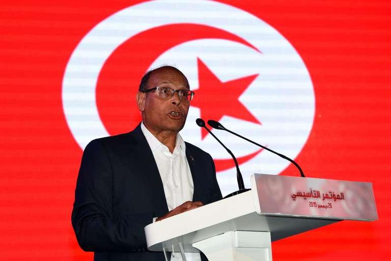 L'ancien président tunisien, Moncef Marzouki, lors du lancement de son nouveau parti, le 20 décembre.