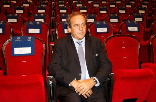 Michel Platini, le 28 août à Monaco lors du tirage au sort de la Ligue Europa.