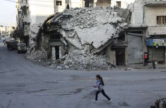 Dans le quartier Maaret Al-Nouman, tenu par les rebelles, à Idlib le 21 décembre.