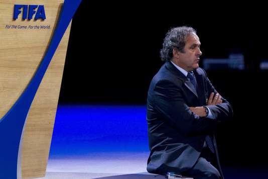 Le président de l'UEFA, Michel Platini, le 1er juin 2011 au 61e congrès de la FIFA.  L'ancien joueur a été suspendu huit ans par la FIFA, le lundi 21 décembre.