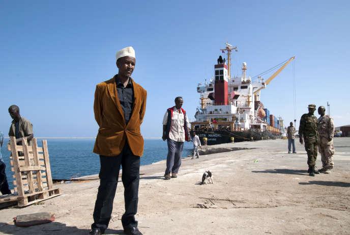 Ali Hoor Hoor, l'influent manager du port de Berbera, au Somaliland, d'où le pays exporte du bétail vers les pays du Golfe, en décembre 2015.
