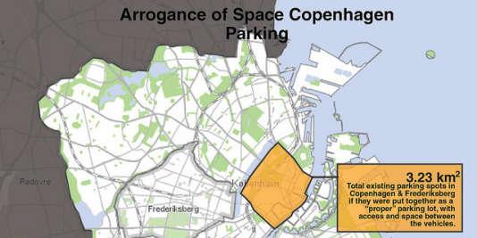Si toutes les places de stationnement de Copenhague étaient regroupées, elles occuperaient la quasi-totalité du centre-ville.  Photo Flickr de Colville-Andersen