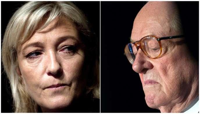 Marine Le Pen en janvier 2013 et Jean-Maire Le Pen, en mai 2015.