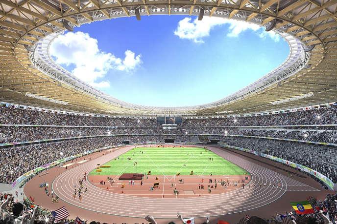 L'intérieur du nouveau stade de Tokyo pour les JO de 2020, proposée par l'architecte japonais Kengo Kuma.
