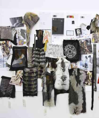 """Dans le studio de création d'Yves Salomon, le """"mood board"""" ou tableau d'inspiration pour la prochaine collection."""