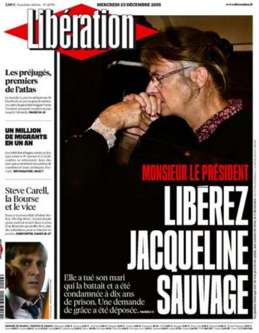 La « une » du journal « Libération » mercredi 23 décembre se solidarise de la campagne pour l'obtention de la grâce présidentielle en faveur de Jacqueline Sauvage.