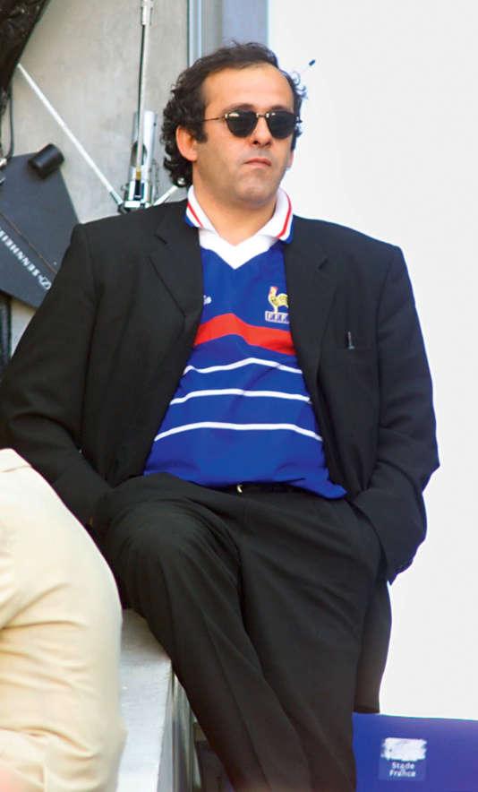 Michel Platini, le  12 juillet 1998, lors de la  finale de la coupe du monde entre le Brésil et la France au  Stade de France à Saint-Denis.