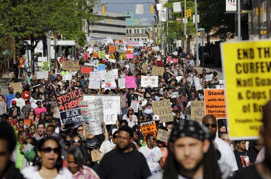 Manifestation contre la brutalité policière à Baltimore, le 2 mai.