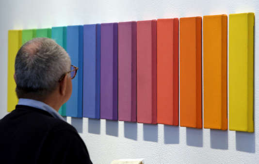 """""""Spectrum VI""""d'Ellsworth Kelly exposé lors d'une vente à New York en 2007."""