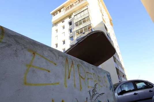 Des graffitis dans le quartier des Jardins de l'Empereur à Ajaccio le 28 décembre 2015.