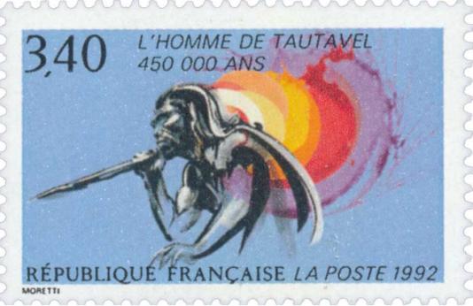 Timbre-poste dessiné par Raymond Moretti, émis en 1992, sur l'Homme deTautavel.