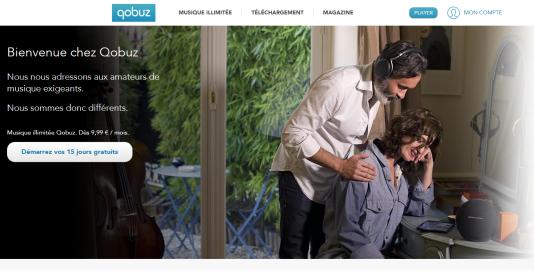 Sur la page d'accueil de la plate-forme de streaming Qobuz, le 29 décembre.