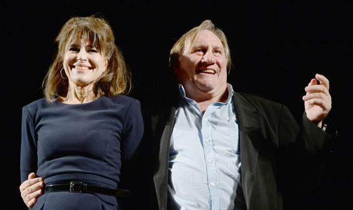 Le comédien Gérard Depardieu et l'actrice-réalisatrice Fanny Ardant, le 7 octobre à Moscou.