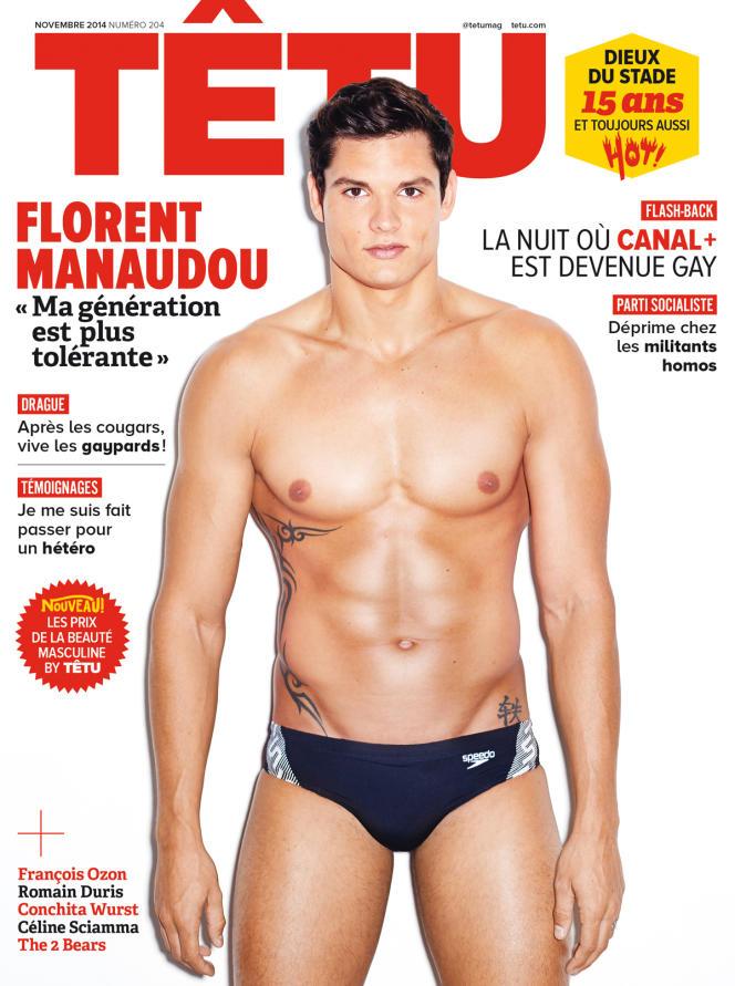 La couverture du magazine Têtu de novembre 2014 avec Florent Manaudou.