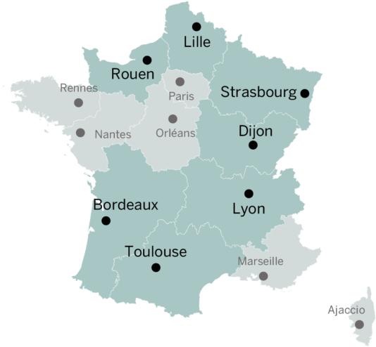 Les capitales régionales choisies par le gouvernement, mais officiellement provisoires.