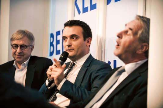 Le 10 novembre, lors d'un débat des têtes de liste du Grand Est, à Strasbourg. De gauche à droite : Jean-Pierre Masseret (PS), le candidat FN Florian Philippot et Philippe Richert (LR).