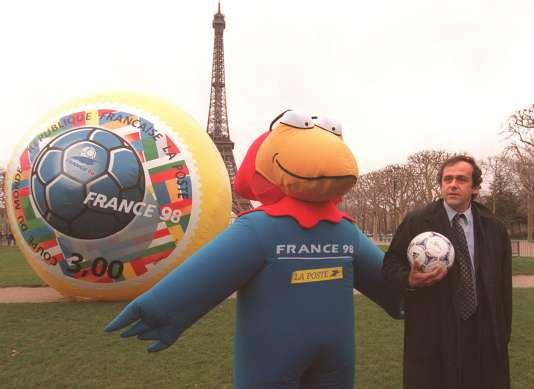 Michel Platin et  Footix, à la fin des années 1990.