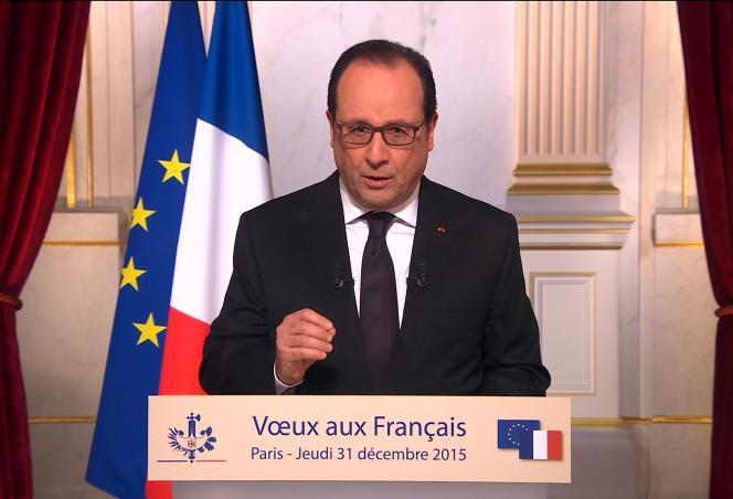 Le président François Hollande lors de ses vœux pour l'année 2016, le 31 décembre.
