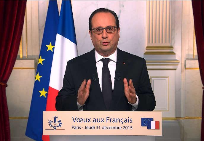 Vœux de François Hollande, le 31décembre2015, àl'Elysée.
