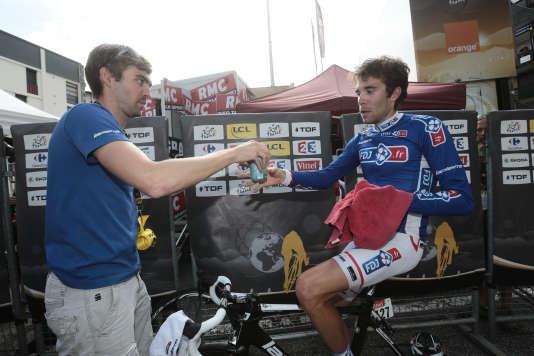 Julien (à gauche) et Thibault Pinot lors du Tour de France 2014.
