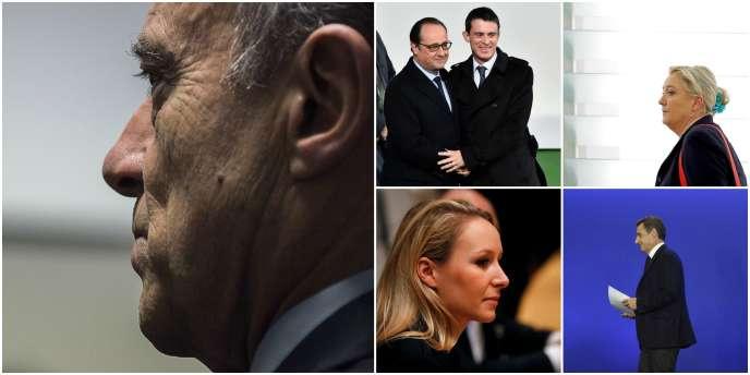 De gauche à droite et de haut en bas: Alain Juppé, François Hollande et Manuel Valls, Marine LePen, Marion Maréchal-LePen, Nicolas Sarkozy.