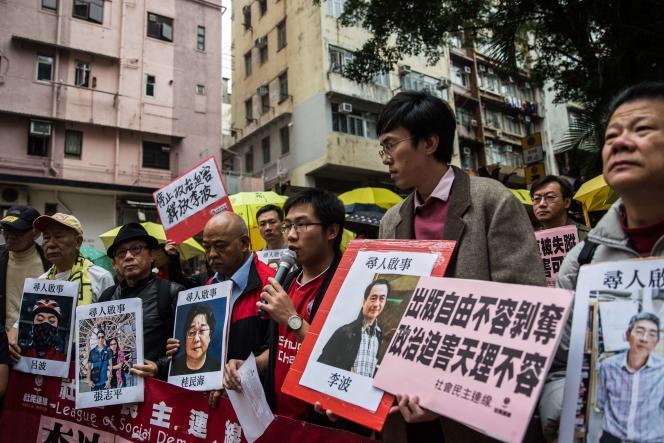 Manifestation d'opposants à Hong Kong, le 3 janvier 2016 .  AFP PHOTO / ANTHONY WALLACE