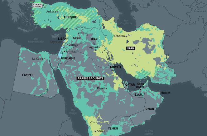 Carte de la représentation géographique des chiites et des sunnites au Moyen-Orient.