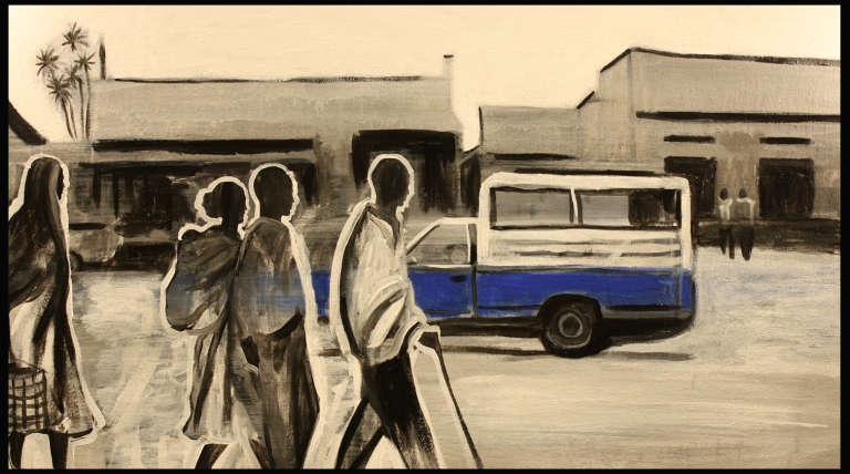 """""""Hisab"""" ( 2011), oeuvre peinte de l'artiste Ezra Wube, originaire d'Ethiopie et vivant à Brooklyn."""