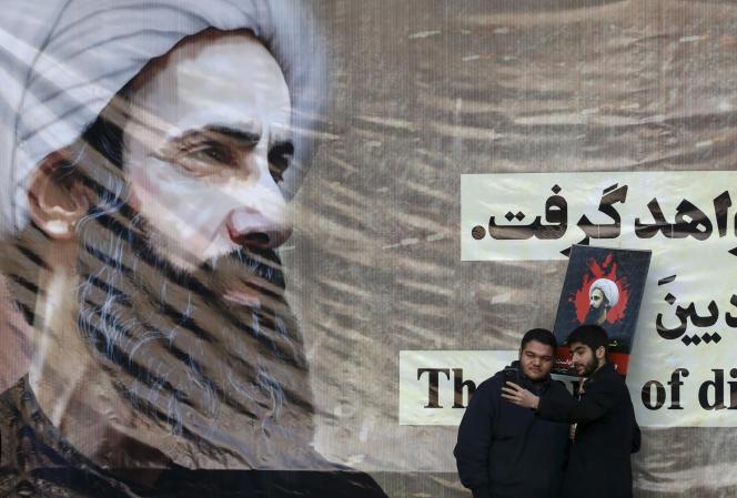 Dans les rues de Téhéran, un portrait de Nimr Al-Nimr, exécuté par l'Arabie Saoudite le 2 janvier.